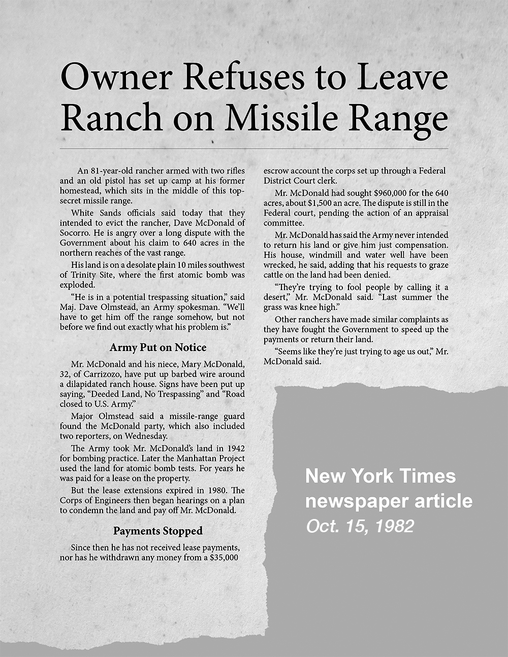 1982 New York Times Article titled, Owner Refuses to Leave Ranch on Missile Range